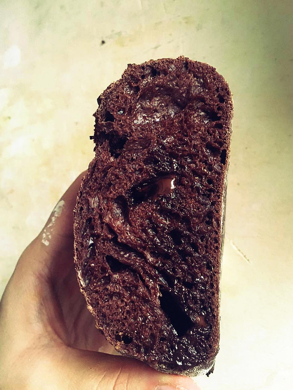 pain au levain au chocolat et cacao